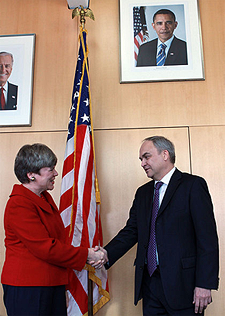 New START Enters into Force: Chief negotiators of New START: Rose Gottemoeller and Anatoli Antonov
