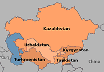 Map of Central Asia Nuclear Weapon Free Zone